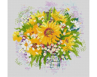 Cross Stitch Pattern Sunflowers flowers counted embroidery