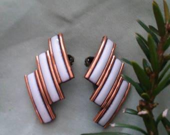 Matisse Copper n White Clip Earrings