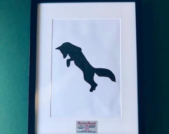 Handcut Harris Tweed Fox in 30x40cm black frame. Paper Cut Stag