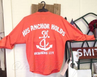 His Anchor Holds Christian Graphic Shirt - Women's Spirit Jersey - Hebrews
