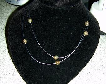 Necklace Blue wire with aventurine balls/bracelet blue plastic coated wire wih aventurine pearls