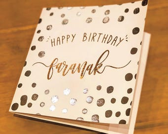 Personalised, Foil, Polka Dot Birthday Card