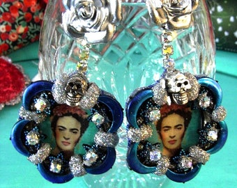 Frida Khalo Flower Earrings