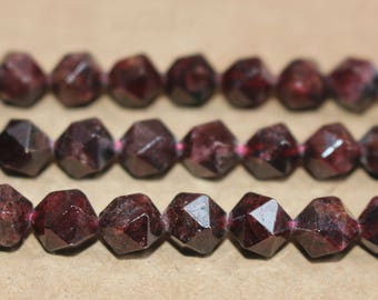 Natural Garnet faceted stars cut nugget beads 6mm 8mm 10mm ,loose beads,semi-precious stone,15 Inches Full strand