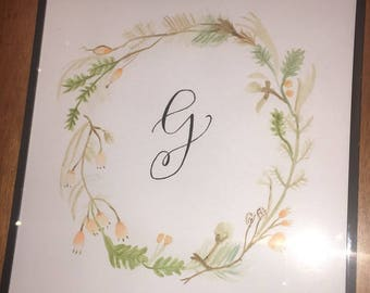 Monogram Cream and Green Wreath