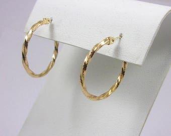 Solid 14K Yellow Gold Twisted Hoop Earrings, 1.1 grams, 21mm