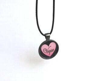 Pink & Black Vegan Heart Pendant Necklace