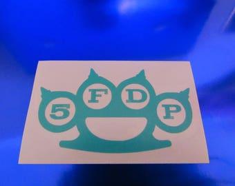 "3"" 5FDP (Five Finger Death Punch) Teal Vinyl Decal"