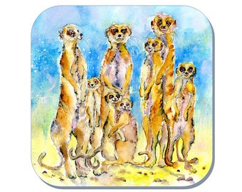 It's cool for Kats - Meerkat Coaster, African Wildlife Coaster (Corked Back). From an original Sheila Gill Watercolour Painting