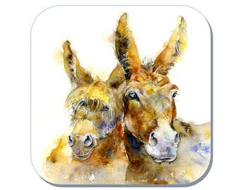 Double Trouble - Donkey Coaster, Farmyard Coaster (Corked Back). From an original Sheila Gill Watercolour Painting
