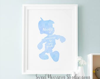 Pinocchio Nursery Wall Girl Nursery, Disney Pinocchio Room Decoration Always Let Your Conscience Be Your Guide, Pastel Blue Birthday Party
