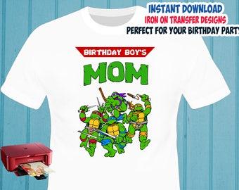 TMNT , Mom , Iron On Transfer , TMNT Mom Birthday Shirt Design , Ninja Turtles DIY Shirt Transfer , Digital Files