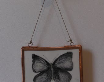 The butterfly. Ceramic painting.