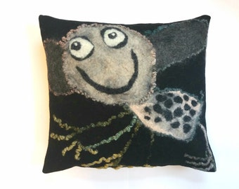 Felt cushion, child's drawing.