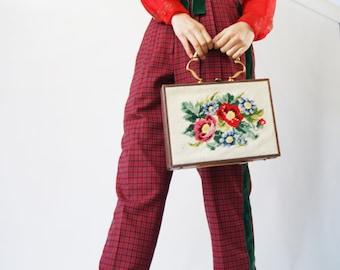 Tartan Fabric Vintage 1950s High Waisted Pants,  Similar to GUCCI Aestetics