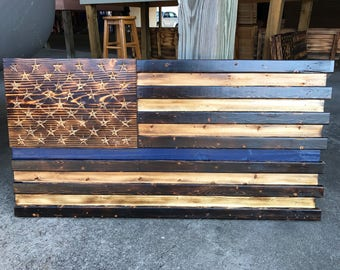 Wall Art, Wall Decor, Wood Signs, Wood Wall Art, Wooden Signs, Rustic Wall Decor, Thin Blue Line, Law Enforcement, American Flag
