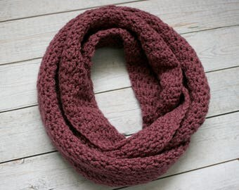 Purple Textured Infinity Scarf