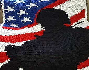 crocheted afghan -- military