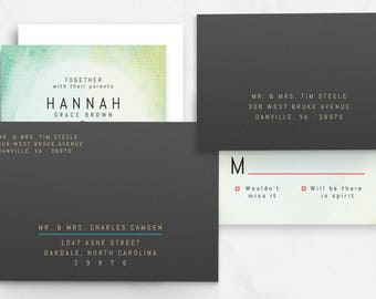 Modern Bold Wedding Stationery, with painted, abstract background / Customizable / Address Printing  // Printable PDF