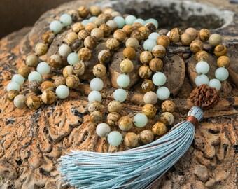 PICTURE JASPER 108 Mala Beads, Matte Aqua Jade, Nepal Rudraksha, Hand Knotted Mala, 108 8mm, Silk Tassel, Yoga Tassel, Gemstone Mala