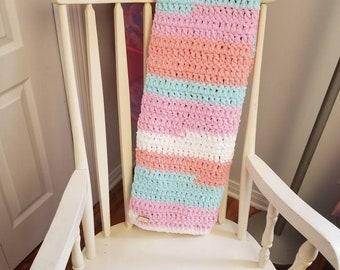 baby blanket, ultra soft crochet pink blue white orange baby blanket