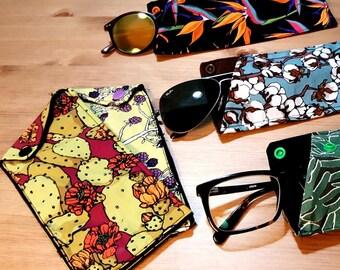 Large glasses case with cotton button closure Design insunsit Theme Nature