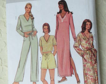 Butterick 4037 Nightgown, Drawstring Pants, Shorts & Top, Robe Sewing Pattern Size Misses Size Large-XLrg 16-22 OOP