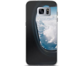 Jet Setter Air Plane Window Seat Wanderlust Samsung Case Cloudy Sky Smart Phone Case