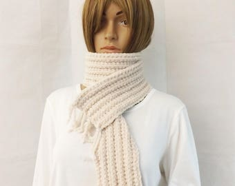 Hand made Crochet Scarf in Super Soft Chenille Oatmeal Beige