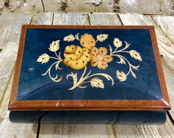 Vintage Blue With Floral Inlay Made In Italy Music Box Plays Blue Danube