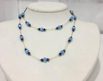 Spacer Necklace Aqua Blue & Dark Blue
