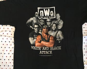 98' Vintage nWo Black and White Attack T Shirt
