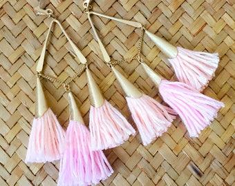 Pink&Gold Tassel Earrings