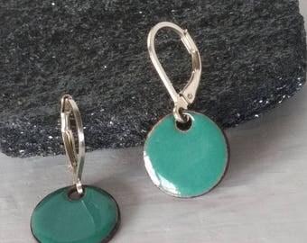 teal enamel earrings