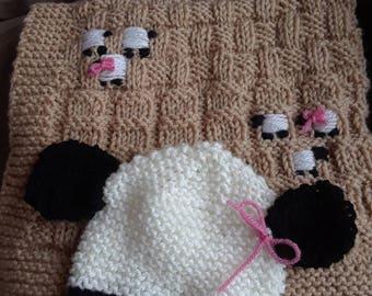 Lil lamb knit blanket &hat set
