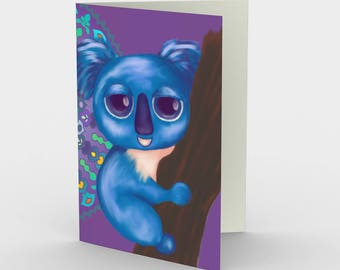 "Notecards: Cute Animal Illustration ""Cirque Koala"" by Malinee Ganahl. Whimsical blue bear on patterned background. Set of 3."