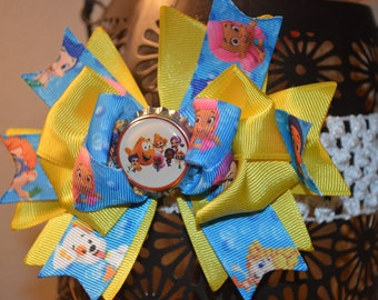 Bubble Guppies Over the top Hair Bow with bottle cap
