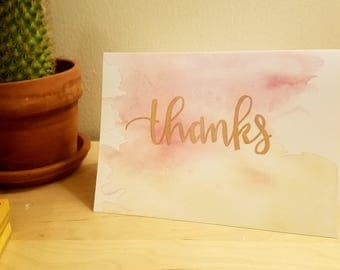 Thank you card- pink and yellow watercolor