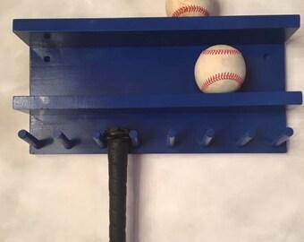 Baseball Bat Rack Display Holder Wall Mount Wood Blue 7 Bats 8 Balls