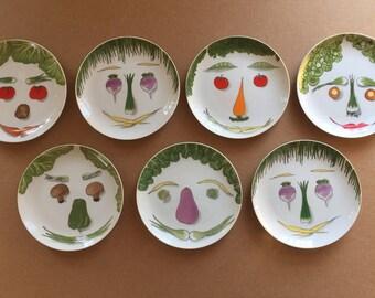 7 pc Vintage Salad Plate Group Franci Vegetable Face Villa Vanilla, 6 different