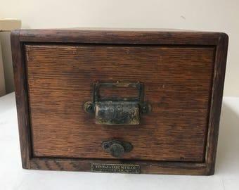 Yawman & Erbe Oak Card File / Antique Single Drawer - Original Hardware