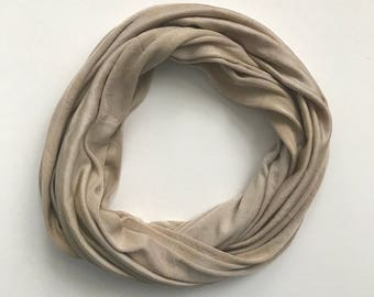 Silk Infinity Scarf - Beige Infinity Scarf - Tab Scarf - Casual Scarf - Neutral Scarf - Knit Infinity Scarf - Gift for Her - Wife Gift