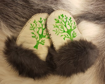 Baby gloves, mittens rabbit skin