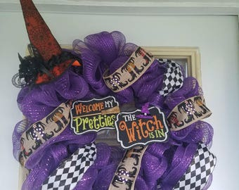 Purple Witch hat Halloween wreath