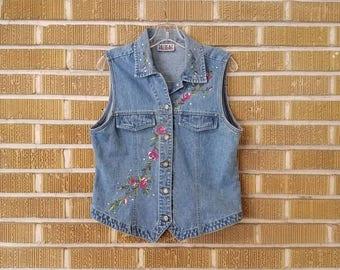 90s floral embroidered denim vest - large