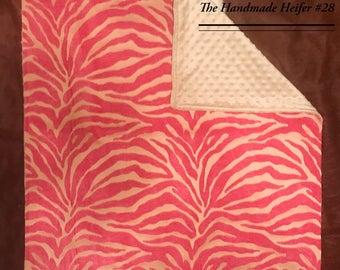 Pink & Tan Baby Blanket-No Ruffles