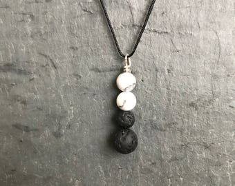 Essential Oil Diffuser Necklace | Lava Bead Necklace | Howlite