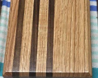 Red Oak and Walnut cutting board 8x8x2