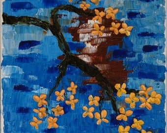 Flower painting, Original Oil Painting, Abstract painting, Oil on canvas, Wall Decor, Palette knife, Blooming Peach Branch