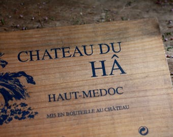 French wine crate front CHATEAU. Wine Bordeaux. Vins de Bordeaux. French wine panel. French wine dedor. Wine panel. Wine decor. French wine